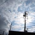 太陽の重なる電柱に空