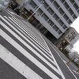 横断歩道がまっすぐ白い